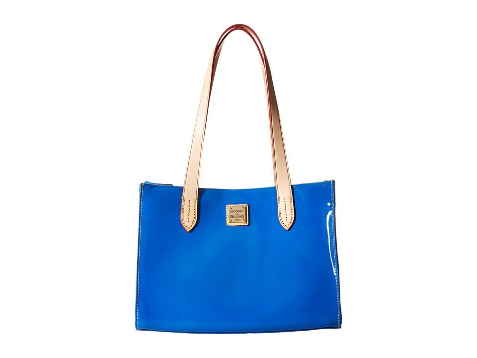 Dooney amp Bourke Pebble Patent Small Shopper Ocean w/ Natural Trim Handbags