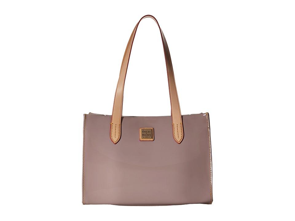 Dooney amp Bourke Pebble Patent Small Shopper Oyster w/ Natural Trim Handbags