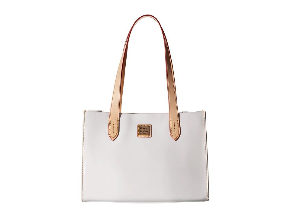 Dooney amp Bourke Pebble Patent Small Shopper White w/ Natural Trim Handbags