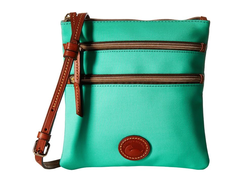 Dooney amp Bourke Nylon North/South Triple Zip Mint w/ Tan Trim Cross Body Handbags