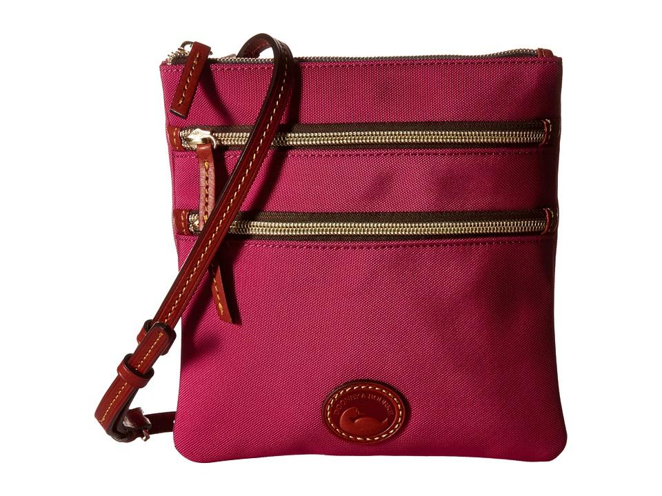 Dooney amp Bourke Nylon North/South Triple Zip Pink w/ Tan Trim Cross Body Handbags