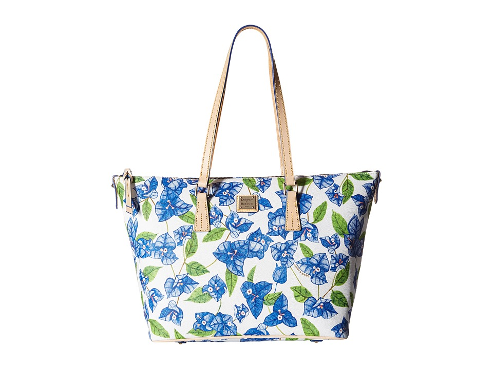Dooney amp Bourke Bougainvillea Zip Top Shopper Blue w/ Natural Trim Shoulder Handbags