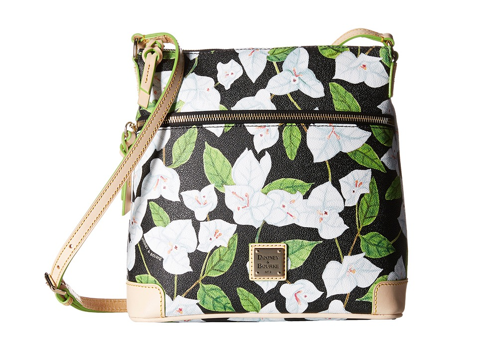 Dooney amp Bourke Bougainvillea Crossbody Black w/ Natural Trim Cross Body Handbags
