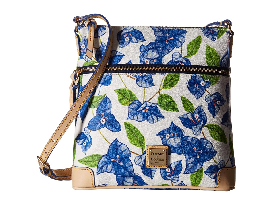 Dooney amp Bourke Bougainvillea Crossbody Blue w/ Natural Trim Cross Body Handbags