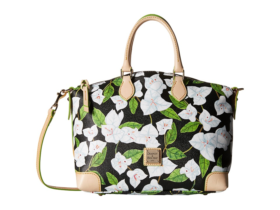Dooney amp Bourke Bougainvillea Satchel Black w/ Natural Trim Satchel Handbags