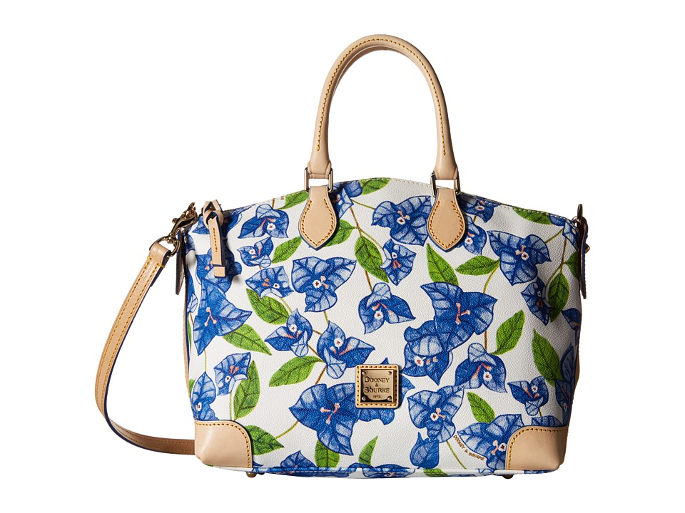 Dooney amp Bourke Bougainvillea Satchel Blue w/ Natural Trim Satchel Handbags