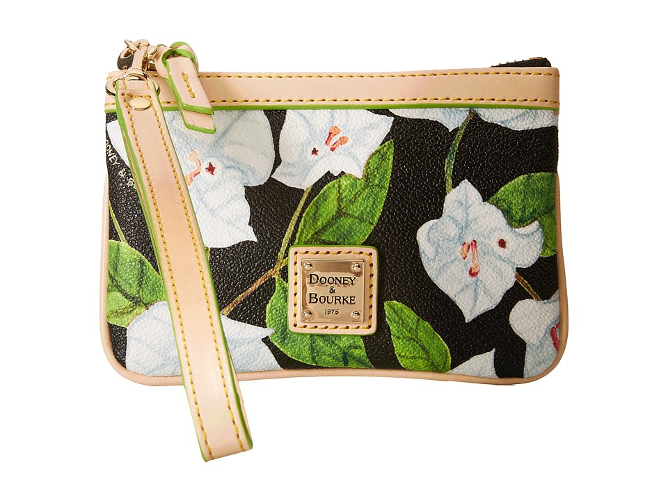 Dooney amp Bourke Bougainvillea Medium Wristlet Black w/ Natural Trim Wristlet Handbags