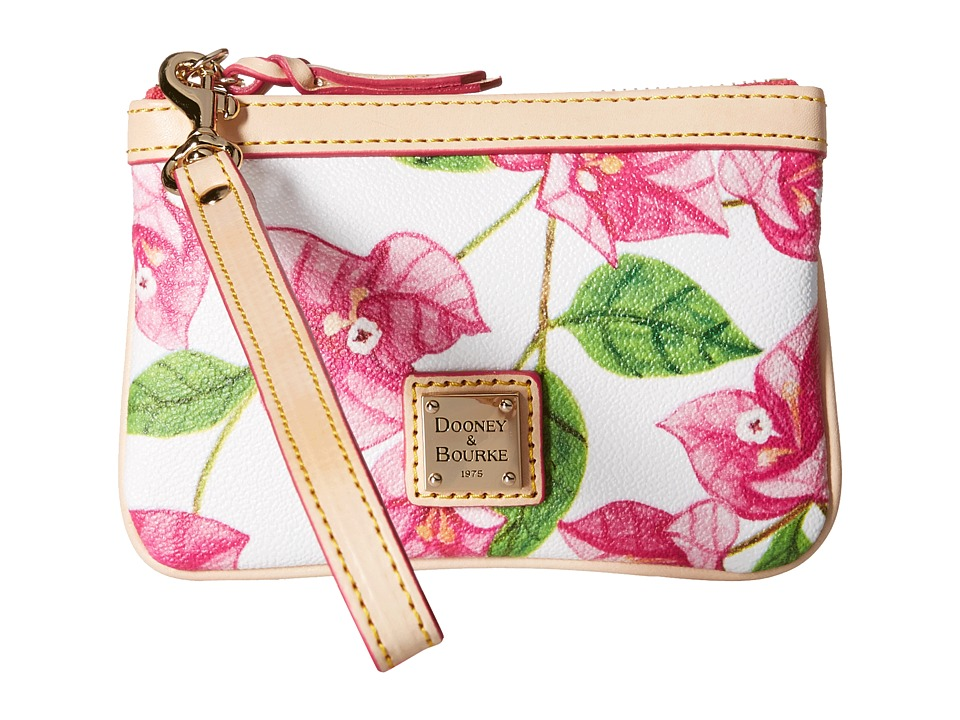 Dooney amp Bourke Bougainvillea Medium Wristlet Fuchsia w/ Natural Trim Wristlet Handbags