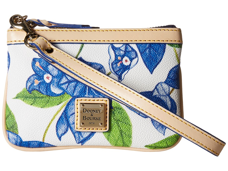 Dooney amp Bourke Bougainvillea Medium Wristlet Blue w/ Natural Trim Wristlet Handbags
