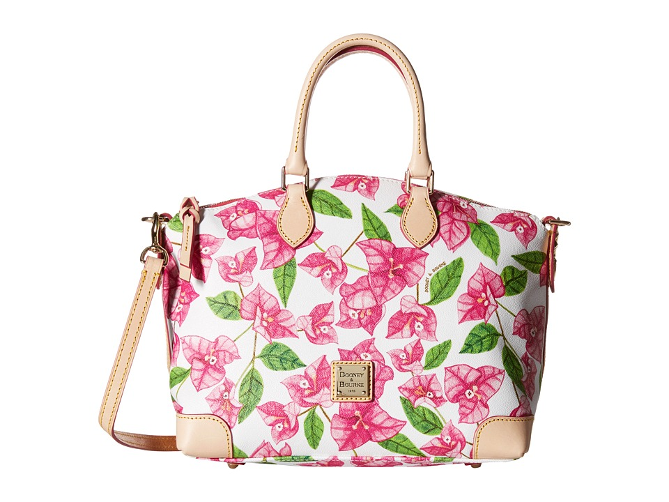 Dooney amp Bourke Bougainvillea Satchel Fuchsia w/ Natural Trim Satchel Handbags