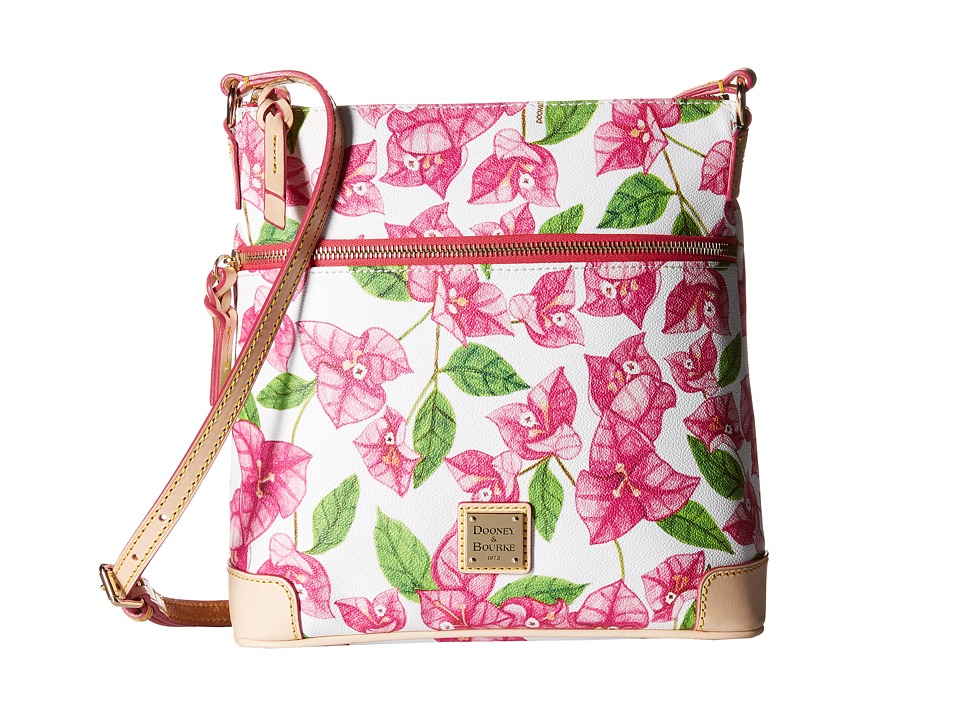 Dooney amp Bourke Bougainvillea Crossbody Fuchsia w/ Natural Trim Cross Body Handbags