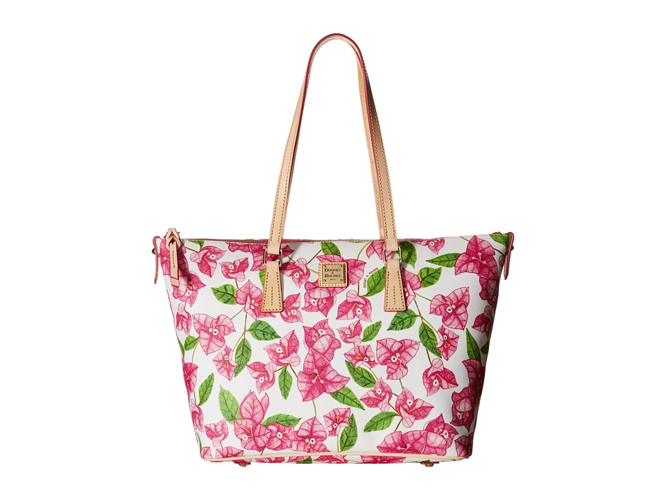 Dooney amp Bourke Bougainvillea Zip Top Shopper Fuchsia w/ Natural Trim Shoulder Handbags