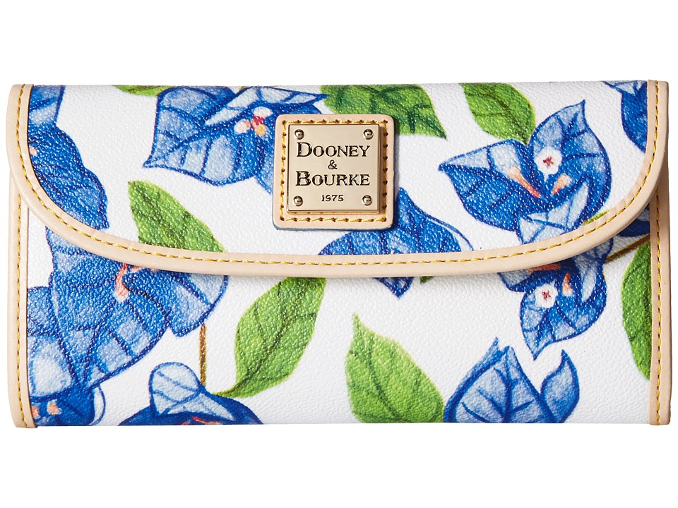 Dooney & Bourke - Bougainvillea Continental Clutch (Blue w/ Natural Trim) Clutch Handbags