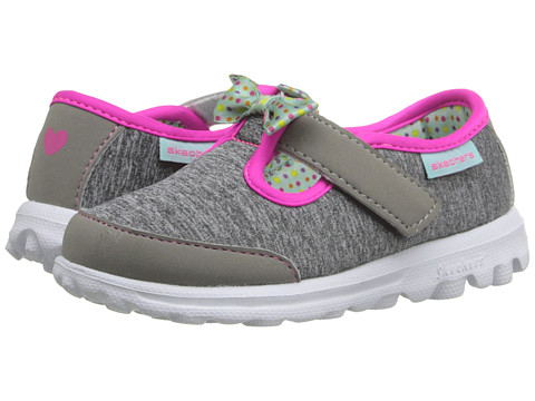 SKECHERS KIDS Go Walk - Bitty Bow (Toddler/Little Kid) - Grey/Multi