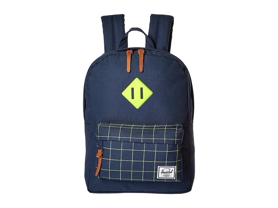 Herschel Supply Co. - Heritage Kids (Little Kids/Big Kids) (Navy/Navy Grid/Neon Lime Rubber) Backpack Bags