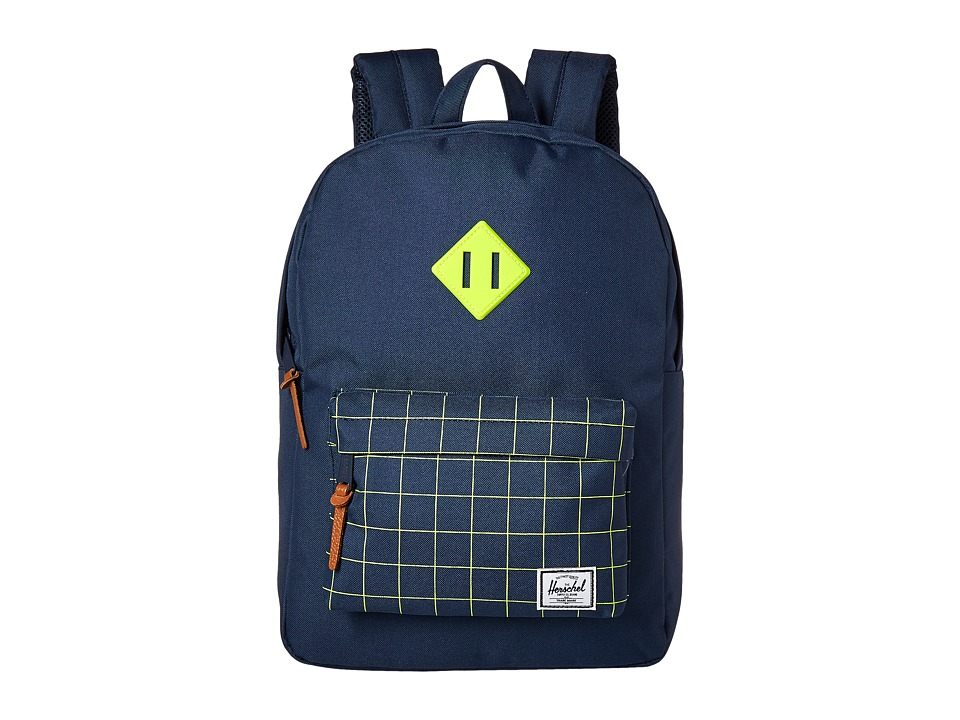 Herschel Supply Co. Heritage Youth Navy/Navy Grid/Neon Lime Rubber Backpack Bags