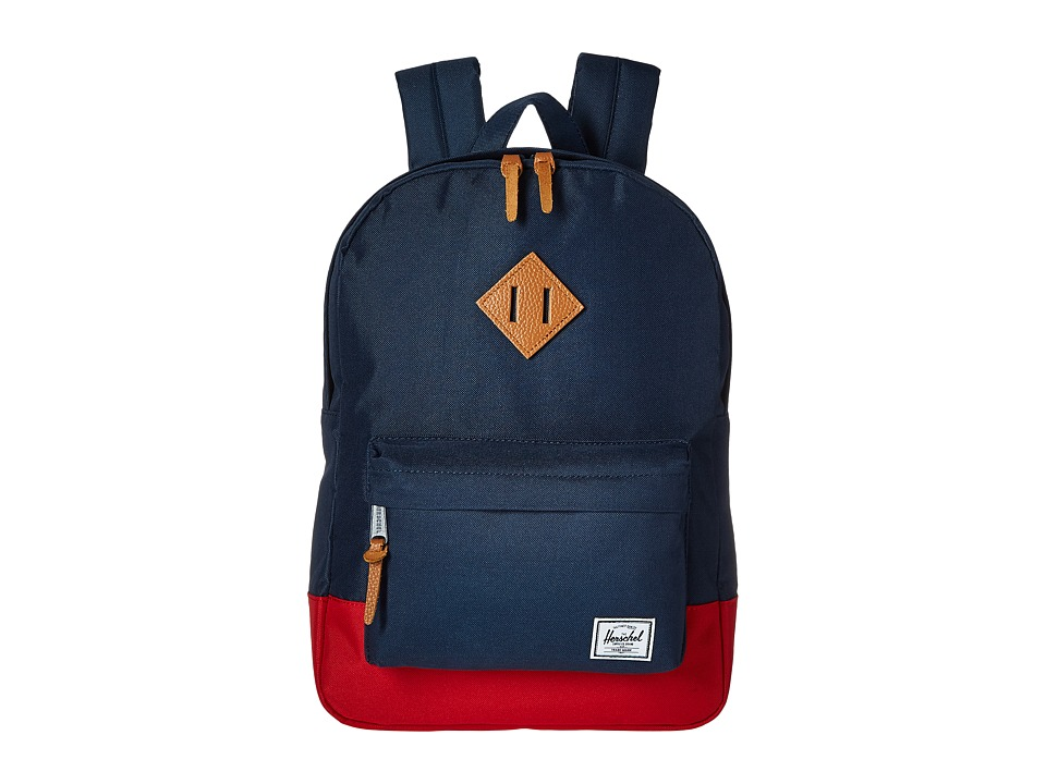 Herschel Supply Co. Heritage Youth Navy/Red/Tan Synthetic Leather Backpack Bags