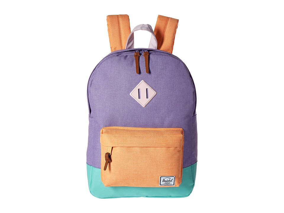 Herschel Supply Co. Heritage Youth Mauve Crosshatch/Neon Mango/Eton Blue/Ballerina Pink Rubber Backpack Bags