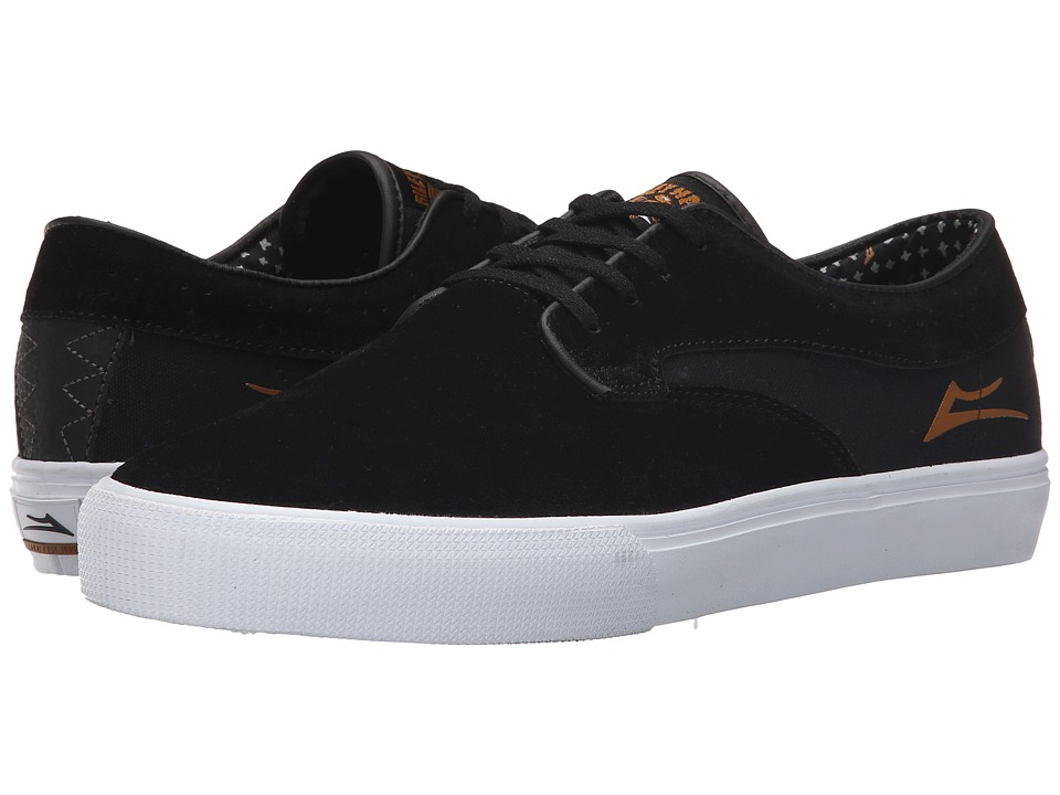 Lakai Riley Hawk Black/Gold Suede Mens Skate Shoes