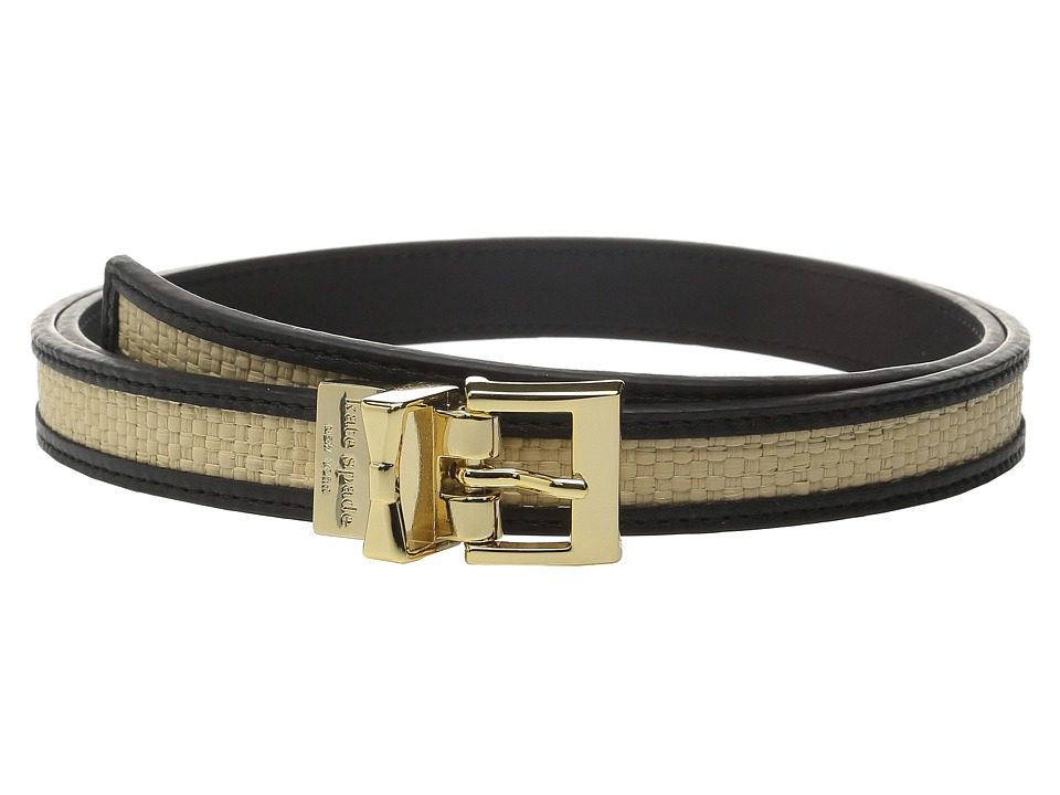 Kate Spade New York 20mm Straw Reversible Belt Black/Natural Straw Womens Belts