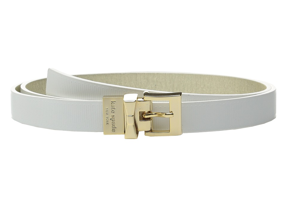 Kate Spade New York 20mm Grosgrain Embossed Belt White Womens Belts