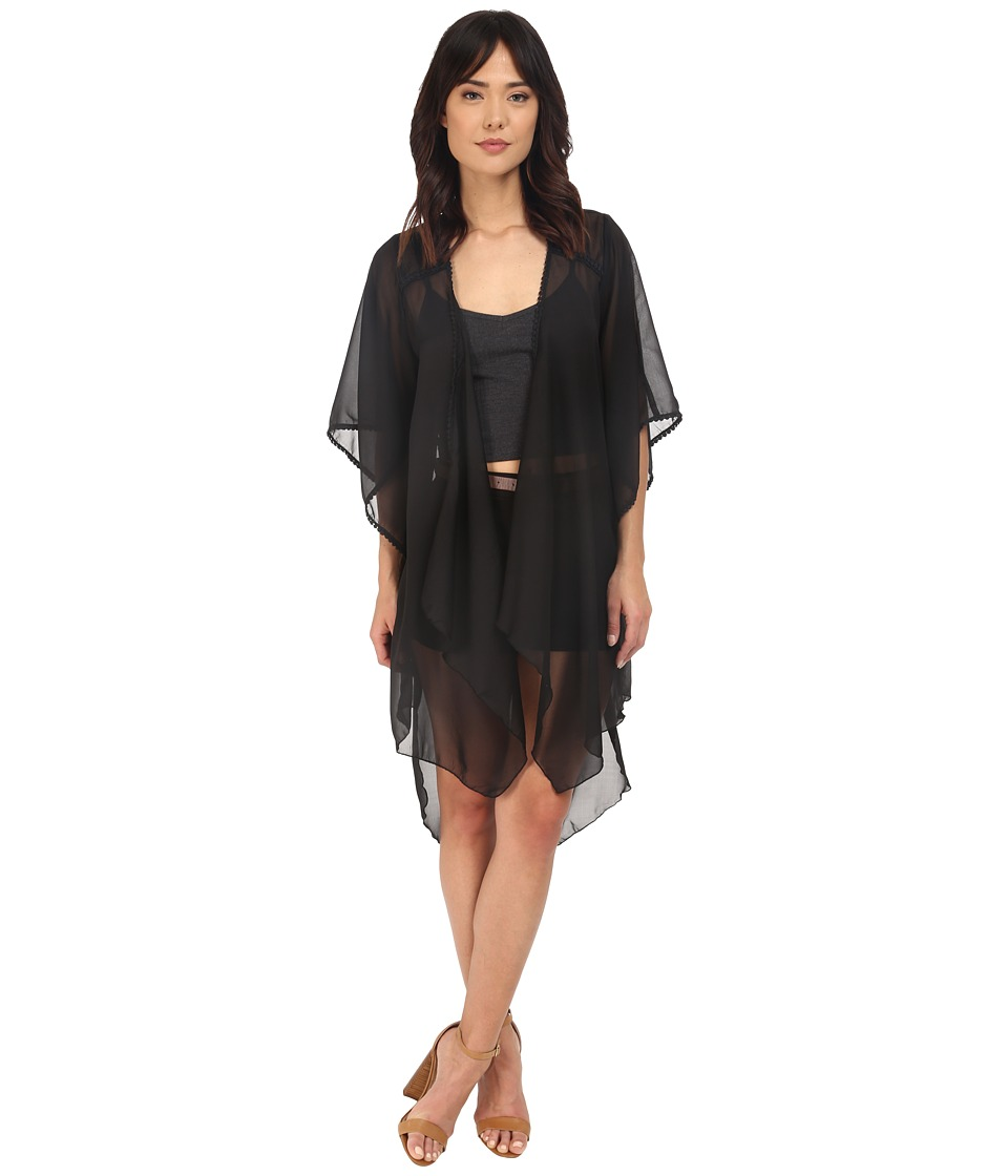 BCBGeneration Bella Solid Kimono Black Womens Blouse