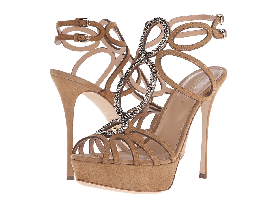 Sergio Rossi Farrah Honey Cream Suede Strass High Heels