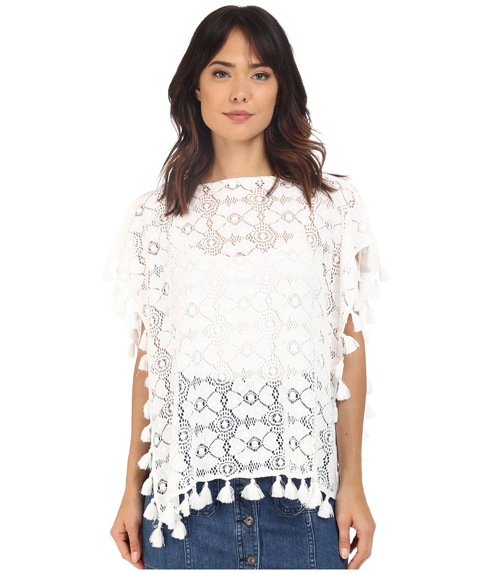 BCBGeneration In the Mod Cropped Poncho White Womens Blouse