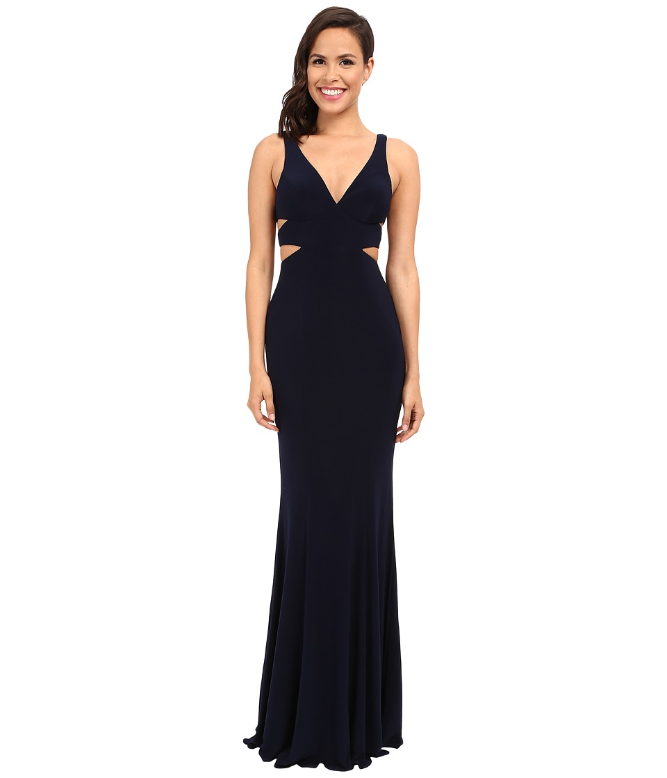 Faviana - Jersey V-Neck Side Out 7541 (Navy) Womens Dress