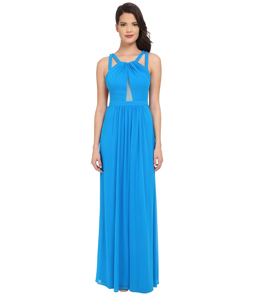 Faviana - Mesh Gown with Illusion Center Front 7741 (Laguna Blue) Womens Dress