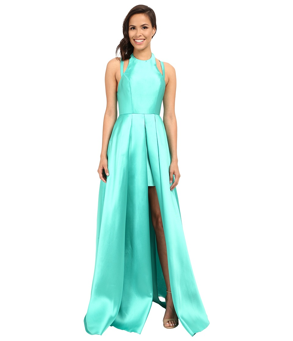 Faviana Frosted Satin Gown with Split Front Overskirt 7752 Spearmint Womens Dress