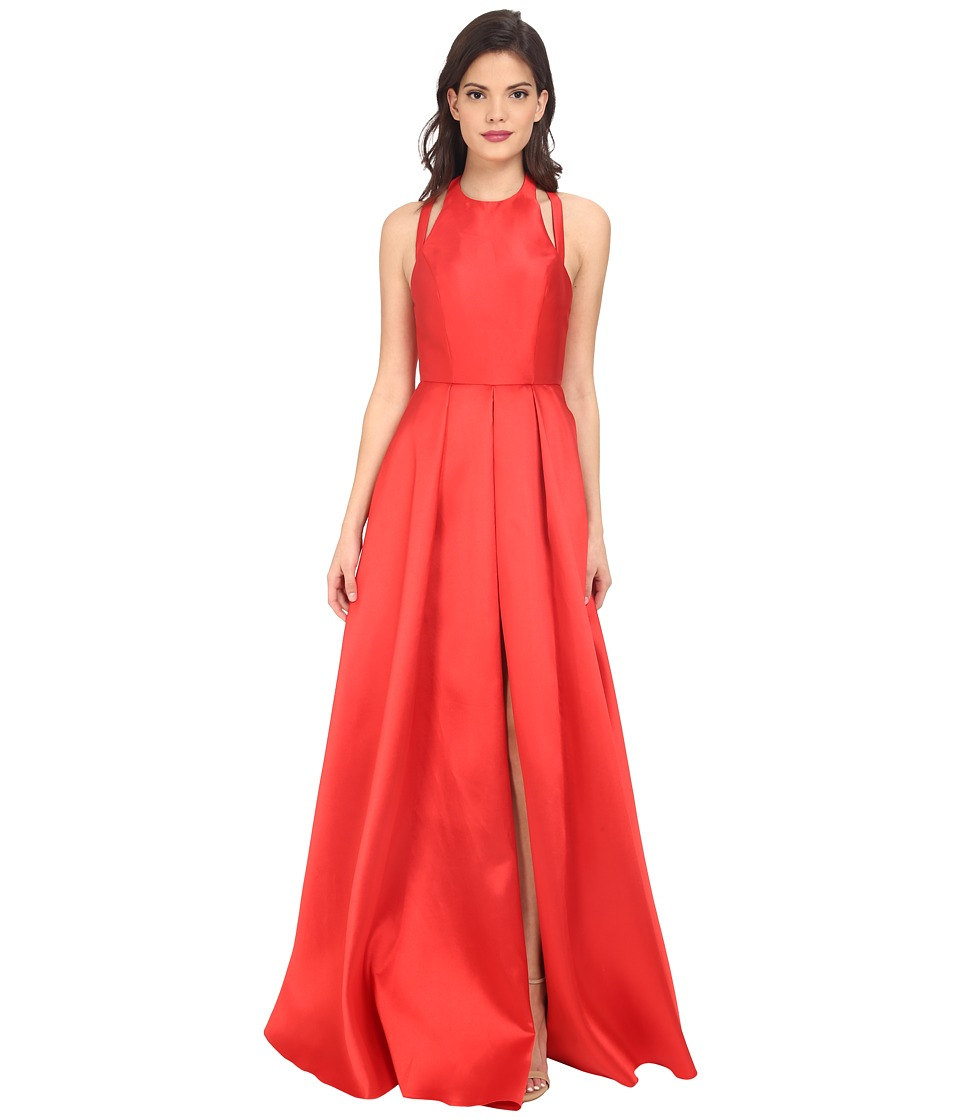 Faviana Frosted Satin Gown with Split Front Overskirt 7752 Red Womens Dress