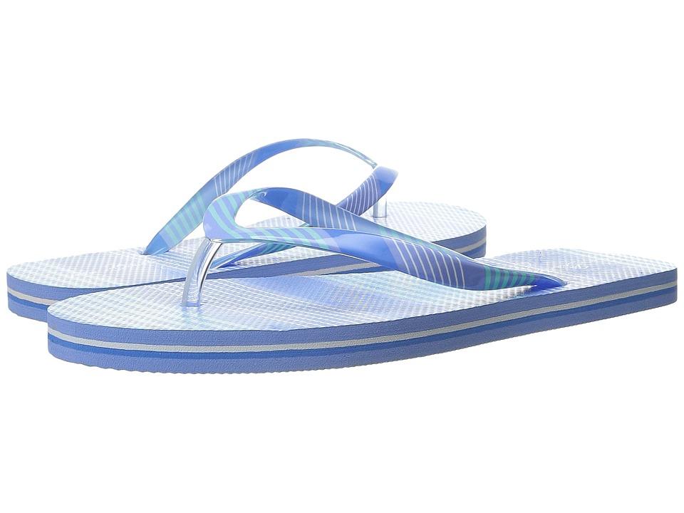 Vera Bradley Flip Flops Blue Tonal Stripe Womens Slippers