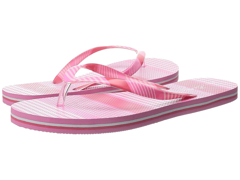 Vera Bradley Flip Flops Pink Tonal Stripe Womens Slippers