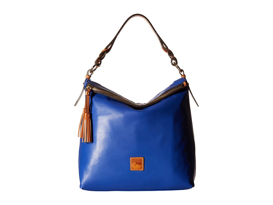 Dooney amp Bourke Newbury Leather Sloan Cobalt w/ Natural Trim Handbags