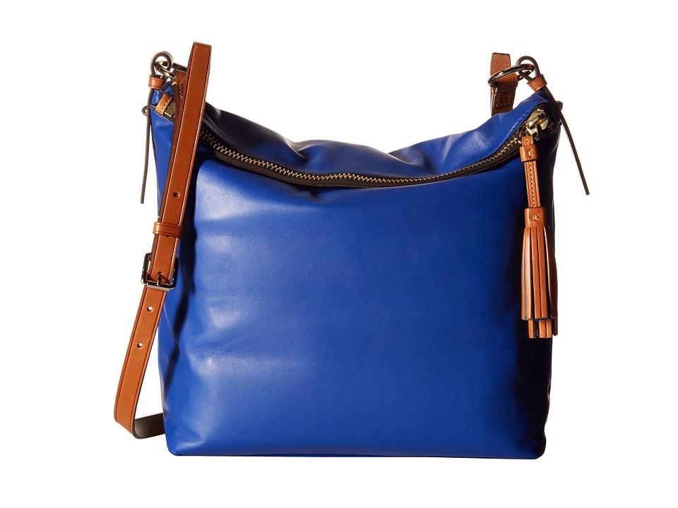 Dooney amp Bourke Newbury Leather Dixon Crossbody Cobalt w/ Natural Trim Cross Body Handbags