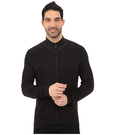 Perry Ellis Marled Textured Full Zip Sweater