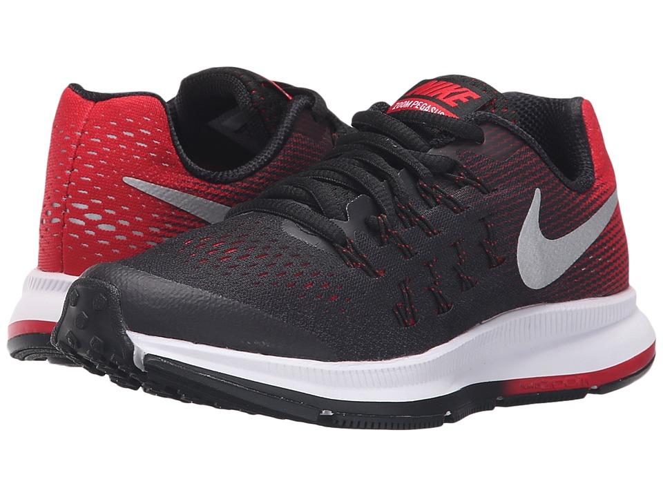 Nike Kids Zoom Pegasus 33 Little Kid/Big Kid Black/Metallic Silver/University Red/White Boys Shoes