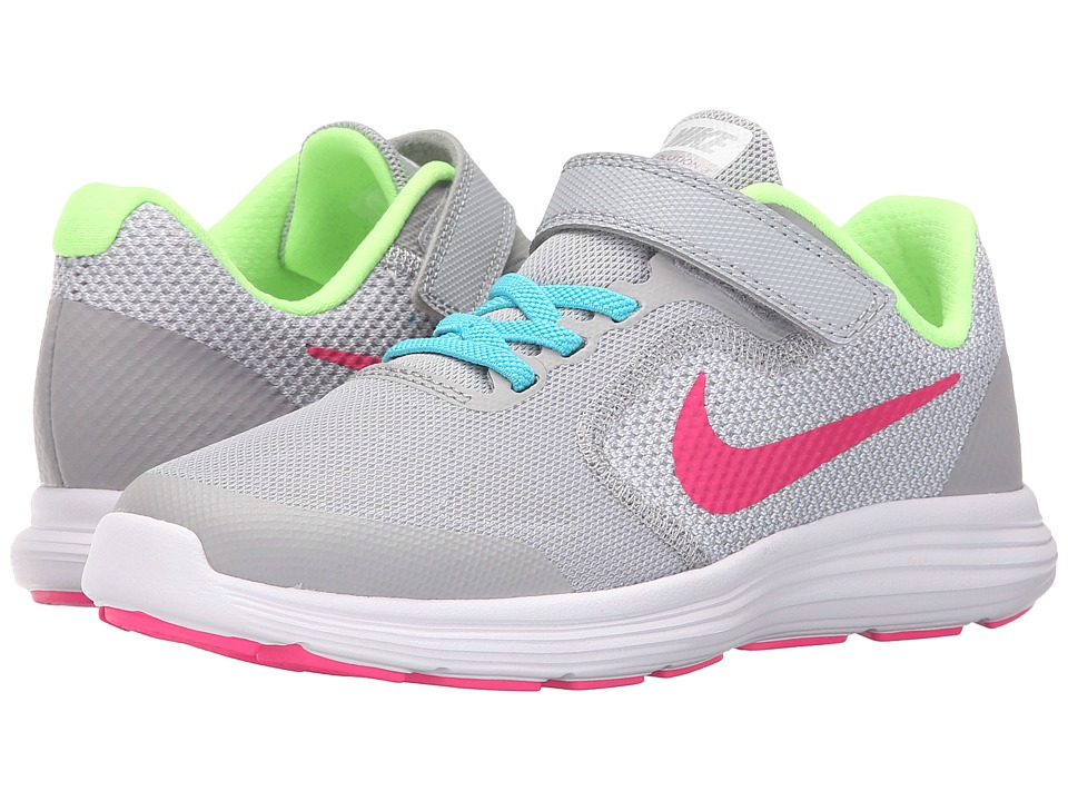 Nike Kids Revolution 3 (Little Kid) (Wolf Grey/Vivid Pink/White/Ghost Green) Girls Shoes