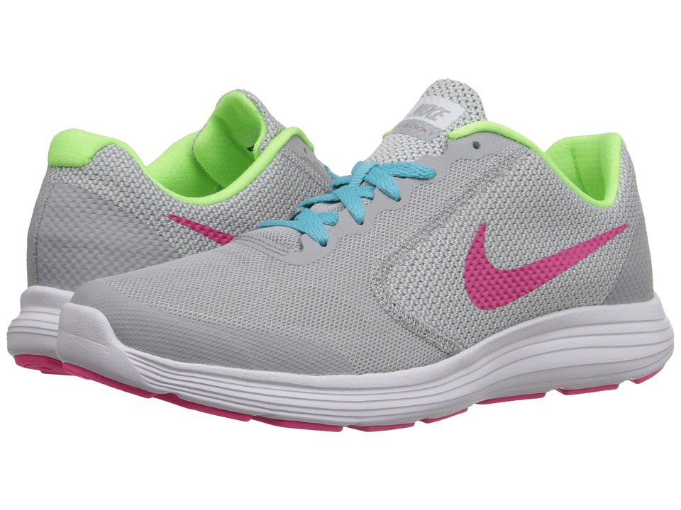 Nike Kids Revolution 3 (Big Kid) (Wolf Grey/Vivid Pink/White/Ghost Green) Girls Shoes