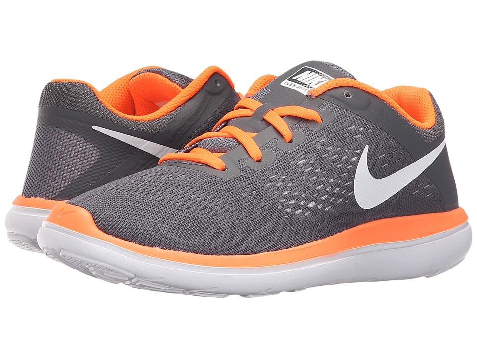 Nike Kids - Flex 2016 RN (Big Kid) (Dark Grey/White/Total Orange) Boys Shoes