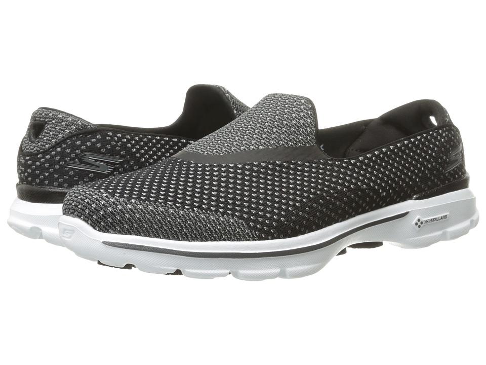 SKECHERS Performance - Go Walk 3 - Go Knit (Black/White) Womens  Shoes