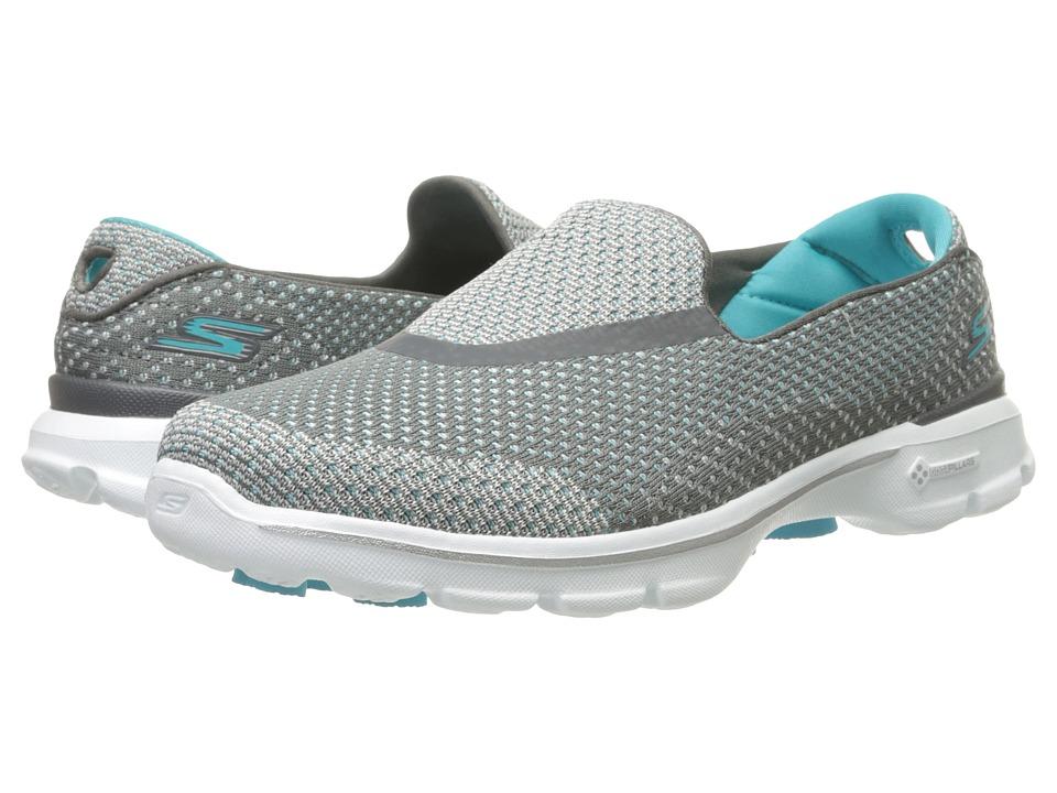 SKECHERS Performance - Go Walk 3 - Go Knit (Charcoal/Blue) Womens  Shoes