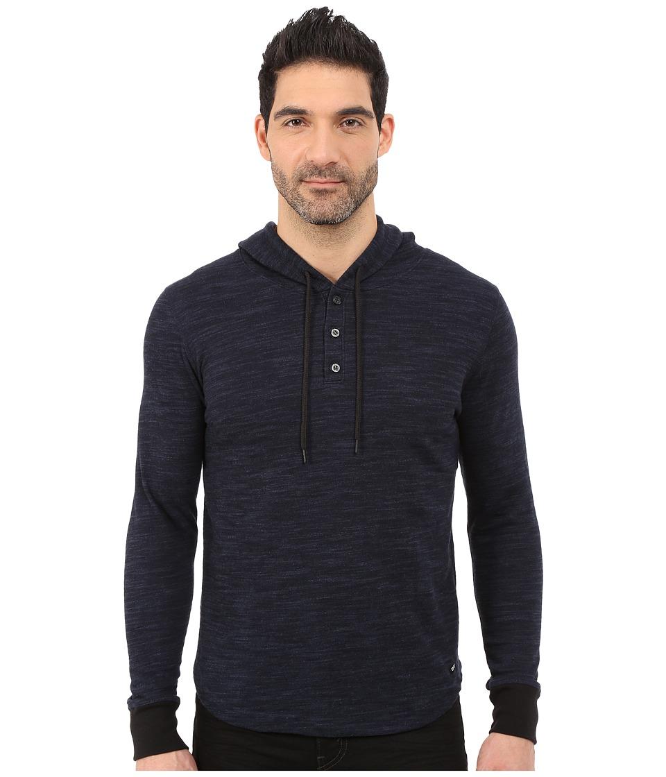 UNCL Highline Slub Hooded Henley Navy Mens Sweatshirt