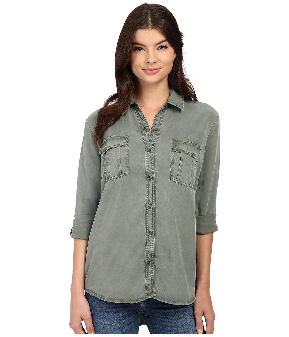 Splendid Laguna Tencel Shirt Vintage Military Womens Long Sleeve Button Up