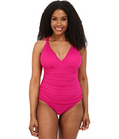 LAUREN by Ralph Lauren - Plus Size Beach Club Solids Solid Over the Shoulder Loop Mio One-Piece