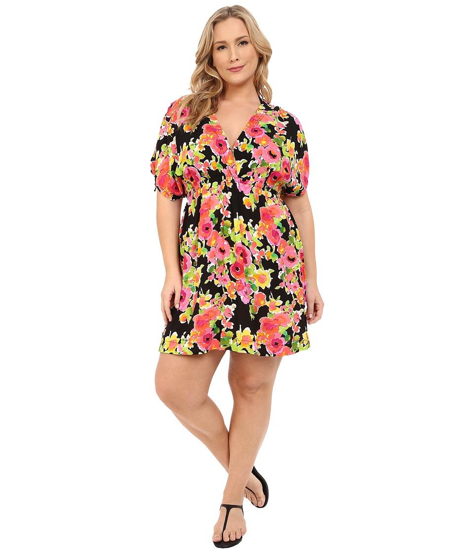 LAUREN Ralph Lauren Plus Size Brilliant Floral Farrah Dress Cover Up Black Womens Swimwear