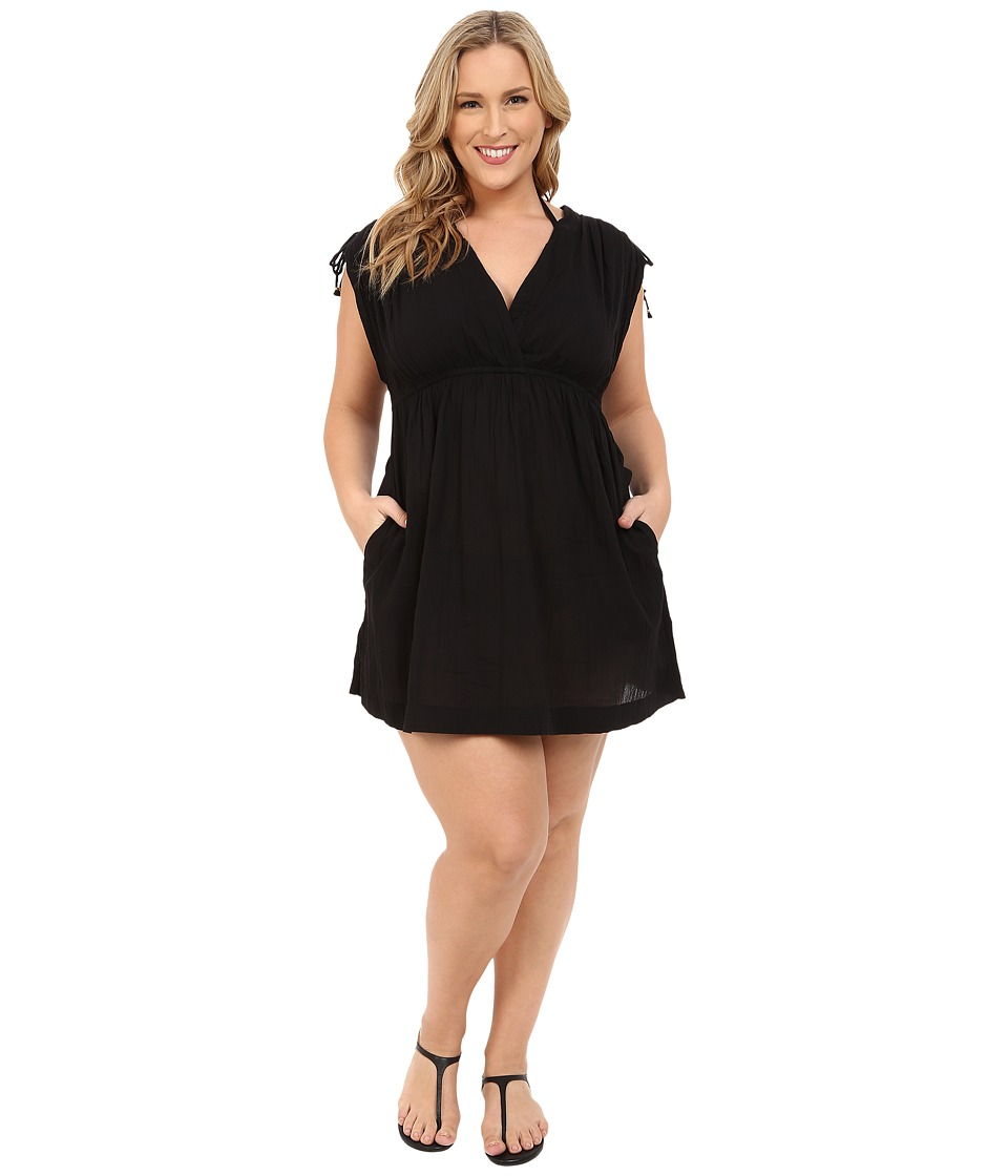 LAUREN Ralph Lauren Plus Size Crushed Cotton Farrah Dress Cover Up Black Womens Swimwear