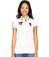 U.S. POLO ASSN. - Polo with Appliques and Embroidery Logos Front and Back