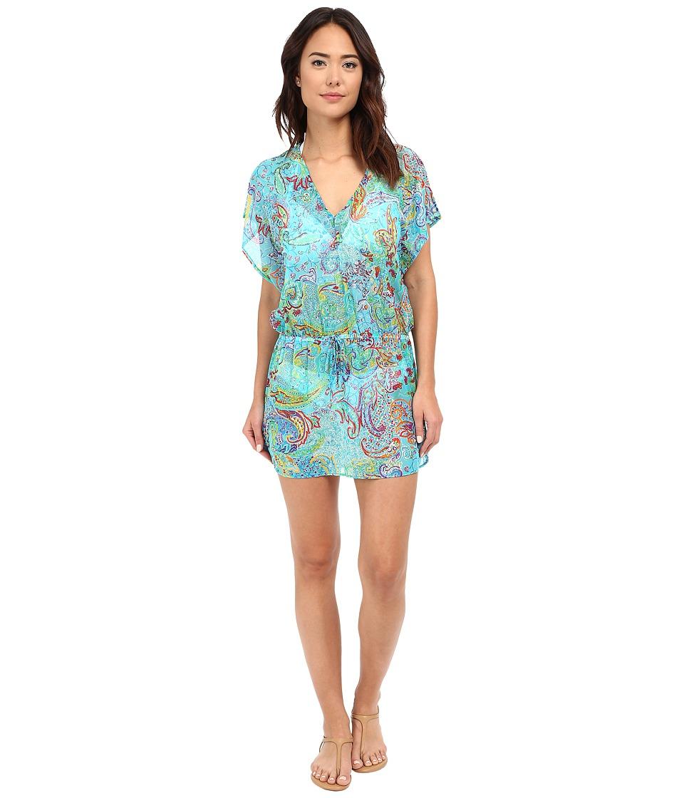 LAUREN Ralph Lauren Maharaja Paisley Poolside Tunic Cover Up Turquoise Womens Swimwear